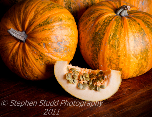 Lady Godiva Pumpkin showing naked seeds
