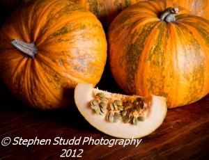 Lady Godiva Pumpkin showing naked seeds