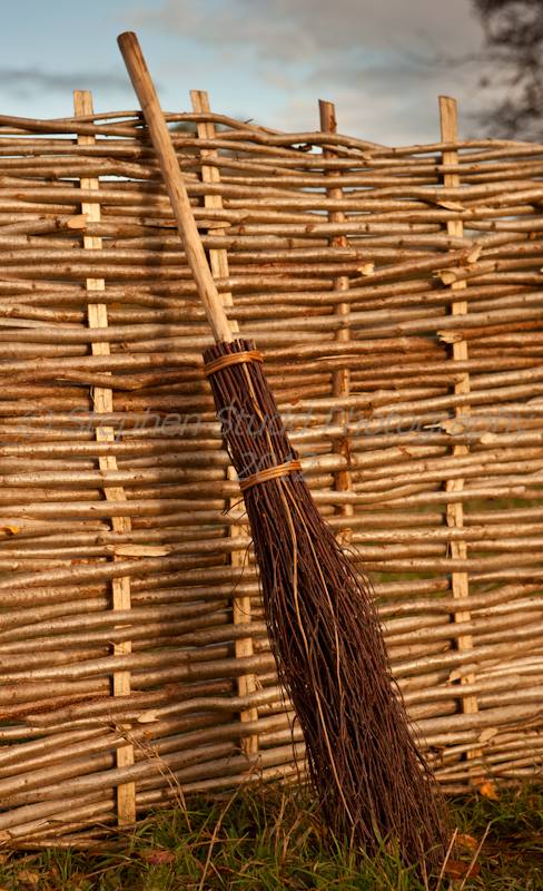 Hazel hurdle with broom made from Birch, willow and hazel, made by Dave Jackson at www.wildwoodcrafts.com
