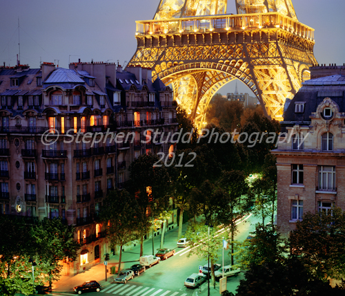 Paris, France, Europe, Eiffel tower and street scene La Tour d` Eiffel night time dusk