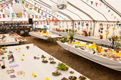 Crown and Sceptre stroud country fair marquee with exhibits