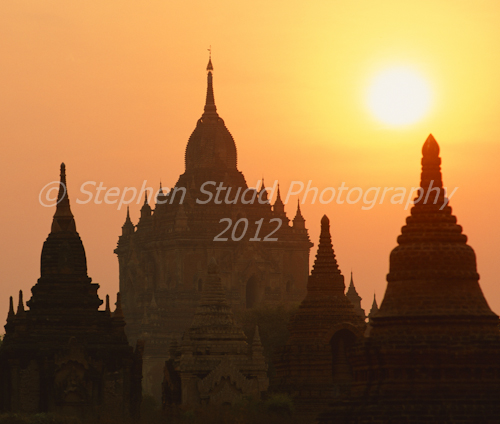 Digital photography holidays Myanmar, Bagan,  temple at dawn, silhouette