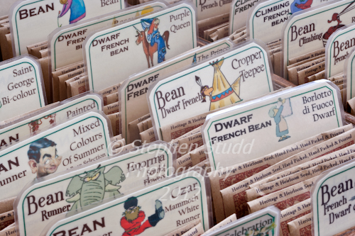 Pennard Plants Heritage and Heirloom seed packets of variety of beans on display at Malvern Autumn show 2012