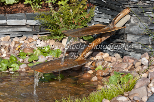 """Garden made with recycled and reused materials """"Regeneration"""" Designed by Jane Grenan & David Lewis Awarded Silver Gilt RHS Cardiff Show 2012"""