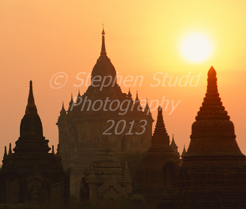Myanmar, Bagan,  temple at dawn, silhouette