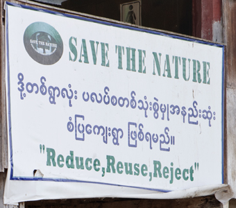 Sign on buddhist temple in Myanmar burma