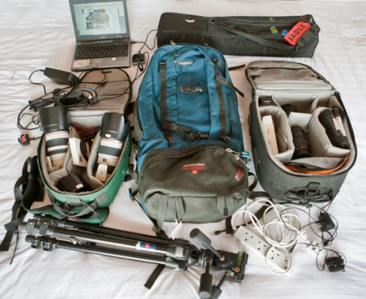 My photography kit on a recent photoshoot in Burma (Myanmar)