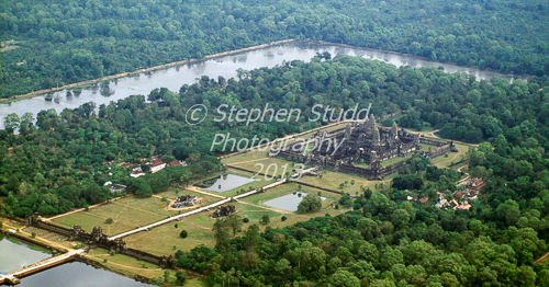 Angkor Wat Cambodia aerial shot from helicopter
