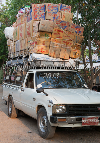 Myanmar Burma Nyaung Shwe market overloaded truck boxes market