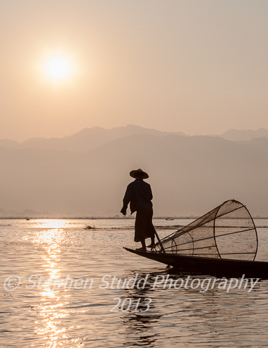 Myanmar Burma Lake Inle sunrise leg rower rowing fisherman