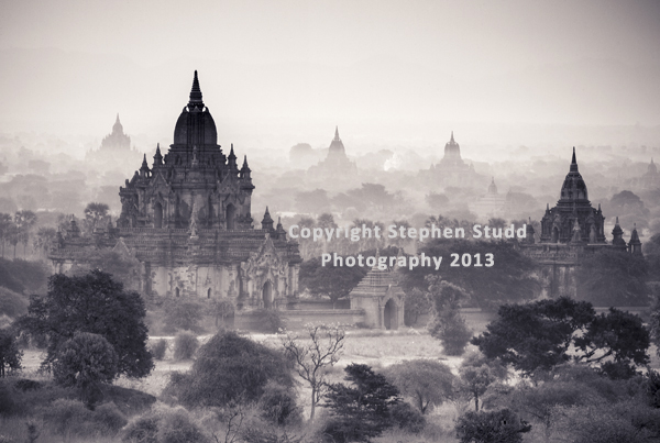 Myanmar (Burma) Bagan temples black and white image for Outdoor Photography magazine