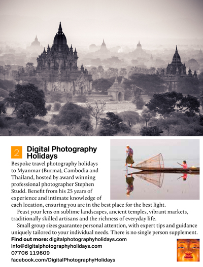 Outdoor Photography magazine; Digital travel photography Holidays vacations tours to Myanmar Burma, Cambodia, Thailand, Bangkok Asia
