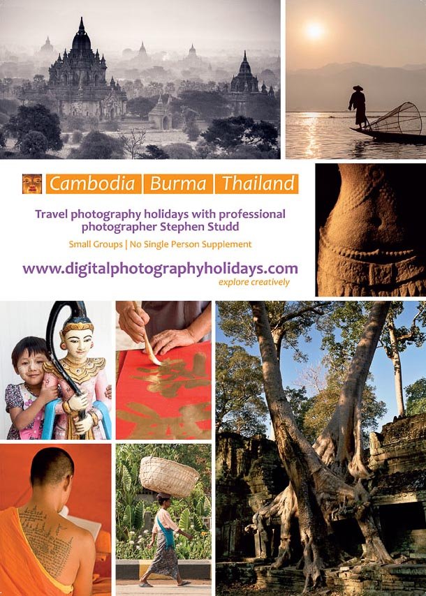 Digital photography holidays holiday tour tours workshop workshops to Myanmar Burma Cambodia Angkor Wat Bangkok Thailand hosted by Stephen Studd