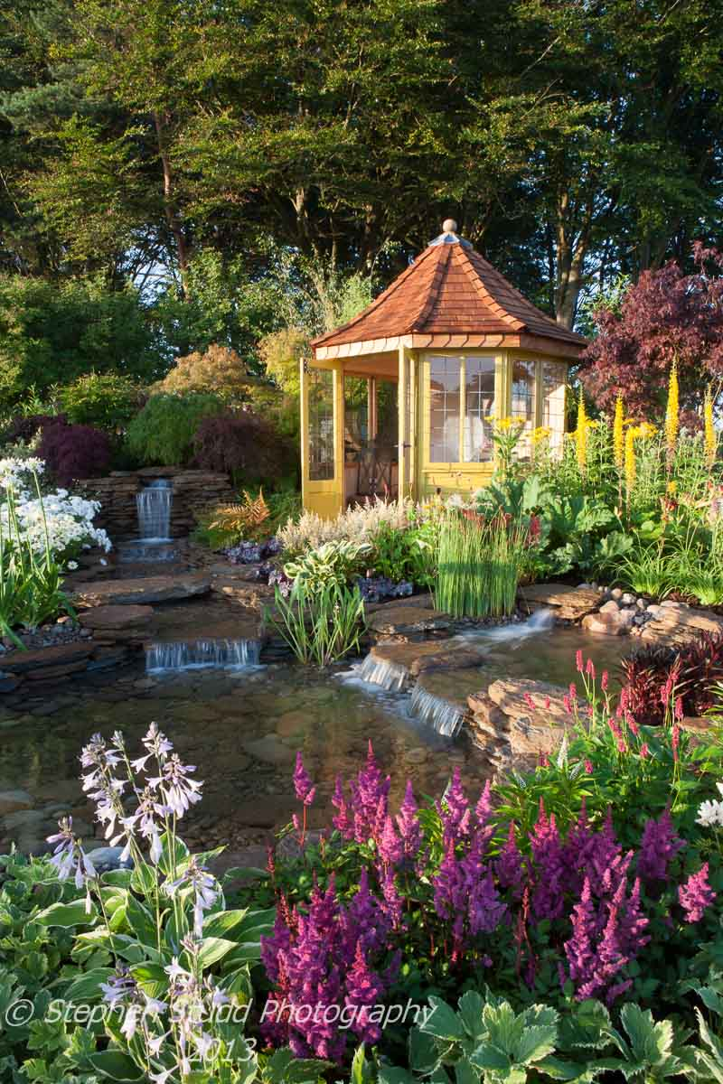 Tatton Park RHS Flower Show 2013 The Water Garden Designed by  Harry Levy Sponsored by The Pond Building Company awarded Silver Gilt