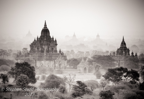 Myanmar Burma Bagan temples sunrise black and white