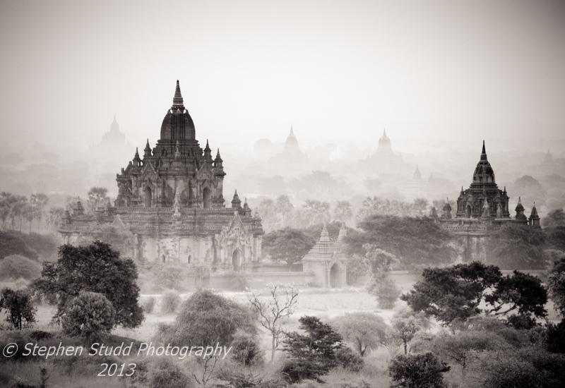 Myanmar Burma Bagan temples sunrise black and white