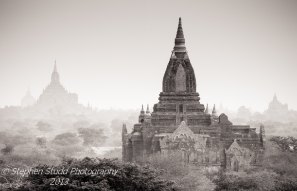 Myanmar Burma Bagan temples sunrise black & white