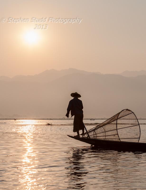 Myanmar Burma Lake Inle sunrise leg rower rowing fisherman