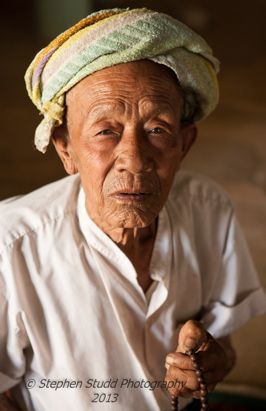 Portrait of an old Shan man in Myanmar (Burma) Lake Inle