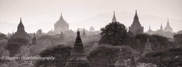 Myanmar (Burma) Bagan temples panoramic view