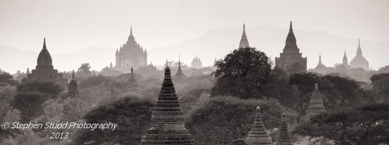 Myanmar (Burma) Bagan temples panoramic view