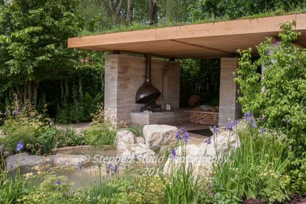 RHS Chelsea flower show 2014 The Homebase Garden - Time to Reflect - in association with the Alzheimer's Society -Designer Adam Frost -Sponsor Homebase