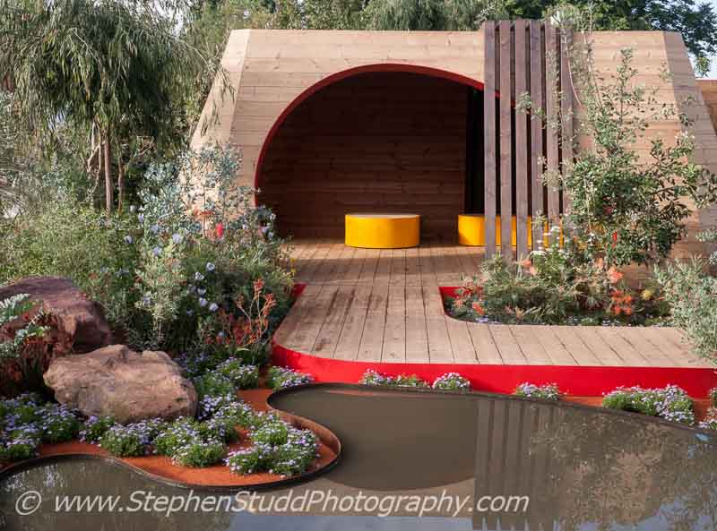 RHS Hampton Court flower show 2014 Stephen Studd photography - Garden - Essence of Australia - view of garden - Designer - Jim Fogarty for Royal Botanic Gardens Melbourne - Sponsor - Tourism Victoria - Tourism Northern Territory - Qantas - Trailfinders