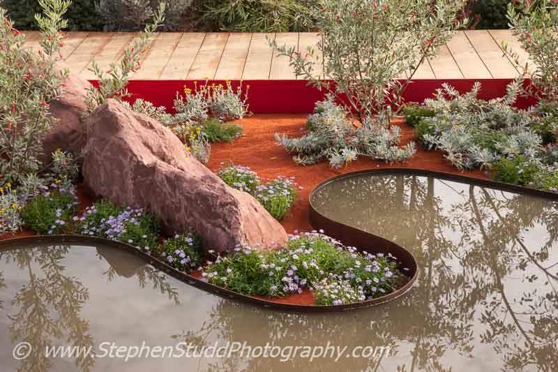 RHS HAmpton Court flower show 2014 - Stephen Studd photography - Garden - Essence of Australia - view of garden - Designer - Jim Fogarty for Royal Botanic Gardens Melbourne - Sponsor - Tourism Victoria - Tourism Northern Territory - Qantas - Trailfinders