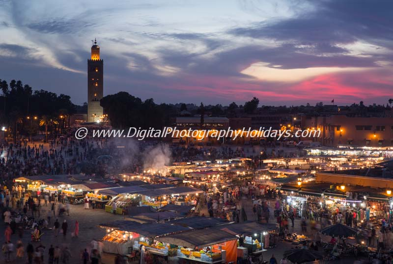 Jemaa el Fna and Koutoubia mosque, sunset