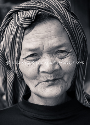 digital travel and landscape photography holidays, vacations, tours and workshops to Asia, Cambodia: Angkor Wat, Siem Reap. Vietnam, Burma (Myanmar), Marrakech Marrakesh Morocco, the Gower Wales UK South East Asia Cambodia Siem Reap Angkor Wat temple complex UNESCO World Heritage site portrait of Cambodian Khmer old woman with traditional headscarf