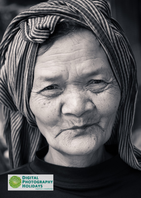 South East Asia Cambodia Siem Reap Angkor Wat temple complex UNESCO World Heritage site portrait of Cambodian Khmer old woman with traditional headscarf digital photography holidays holiday vacations tour tours workshop workshops to Myanmar Burma Cambodia