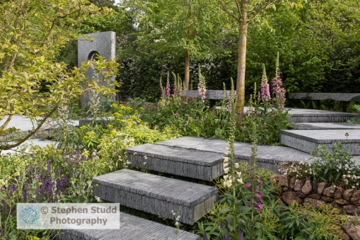 Stephen Studd - The Brewin Dolphin Garden - slate steps leading up to seating area with Salvia and foxgloves - Designer Darren Hawkes Landscapes - Sponsor Brewin Dolphin awarded gold medal