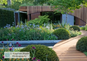 Stephen Studd - The Homebase Garden Urban Retreat - cedar wood and concrete outdoor structure and path, water rill, yew tree topiary balls, planting of foxgloves, Geum 'Totally Tangerine', geranium, Cirsium rivulare 'Atropurpureum' and Iris - Designer Adam Frost - Sponsor Homebase awarded Gold