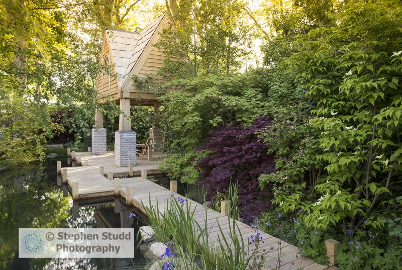 RHS Chelsea flower show 2015 The M&G Garden – The Retreat - designer Jo Thompson - sponsors M & G Investments awarded silver gilt medal