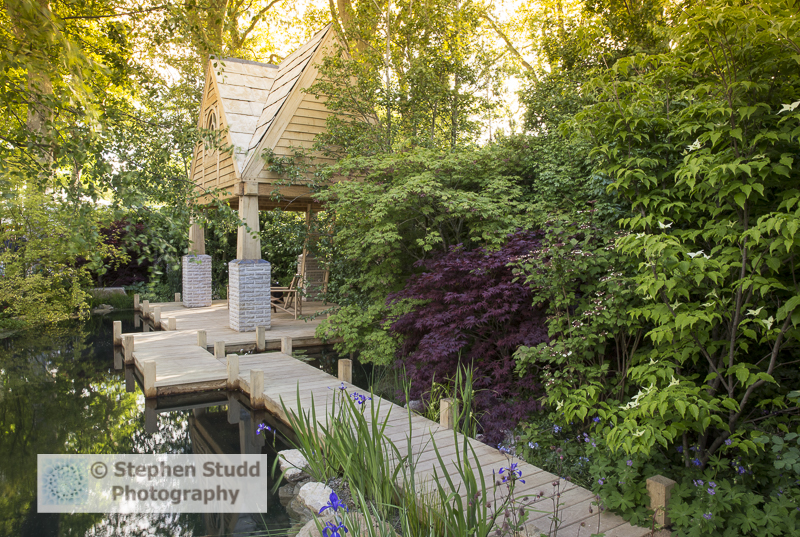 RHS Chelsea flower show 2015 The M&G Garden – The Retreat - designer Jo Thompson - sponsors M & G Investments awarded silver gilt medal