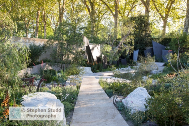 Photographer: Stephen Studd  -  The Telegraph Garden, view of bronze coated fin panels, limestone path, Isoplexis canariensis, adobe wall, Maytenus boaria, Quercus ilex, Schinus molle, -  Designer: Andy Sturgeon - Sponsor:  The Telegraph